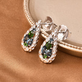 RACHEL GALLEY Misto Collection - London Blue Topaz and AA Russian Diopside Earrings (with Push Back) in Rhodium Overlay Sterling Silver