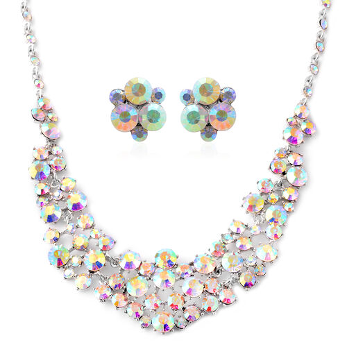 Simulated White AB Stone Waterfall Necklace 20 with 3 inch Extender