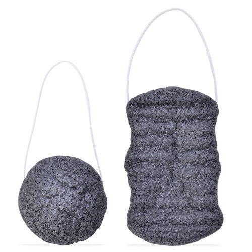 Bamboo Charcoal Konjac Sponges Duo For Oily Skin (One For Face and One For Body)