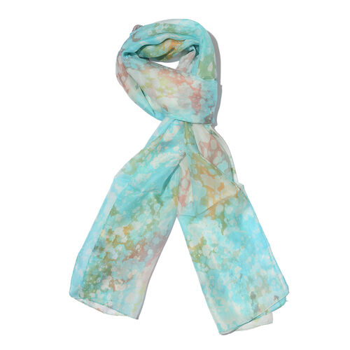 100% Mulberry Silk Turquoise, Off White and Multi Colour Handscreen Printed Scarf (Size 180x50 Cm)