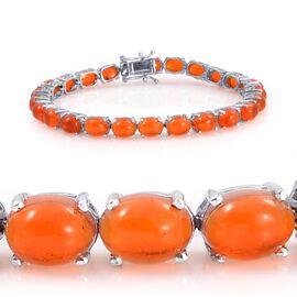 Orange Ethiopian Opal (Ovl) Bracelet in Platinum Overlay Sterling Silver (Size 8) 16.750 Ct.