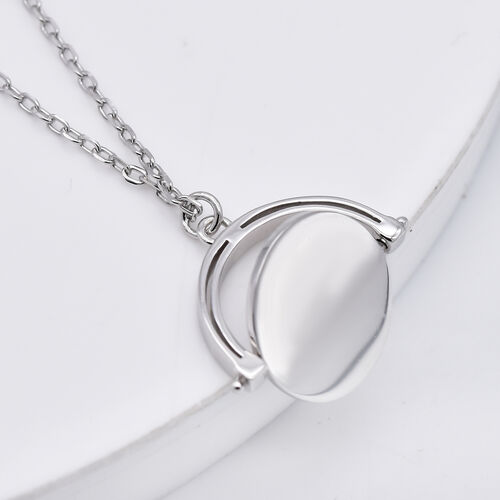 Italian Made - Rhodium Overlay Sterling Silver Spinner Disc Necklace (Size 17 with 1 inch Extender)