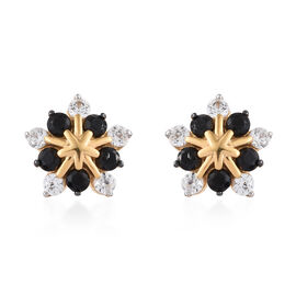 Boi Ploi Black Spinel (Rnd), Natural Cambodian Zircon Earrings (with Push Back) in 14K Gold Overlay Sterling Silver 1.500 Ct.