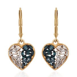 Blue and White Diamond (Bgt) Heart Earrings (with Lever Back) in 14K Gold Overlay Sterling Silver 0.