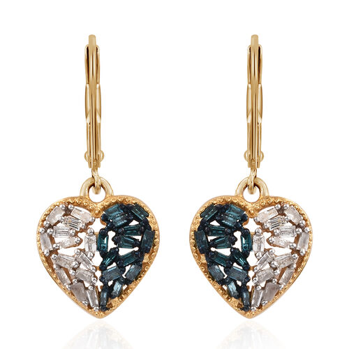 Blue and White Diamond (Bgt) Heart Earrings (with Lever Back) in 14K Gold Overlay Sterling Silver 0.500 Ct.