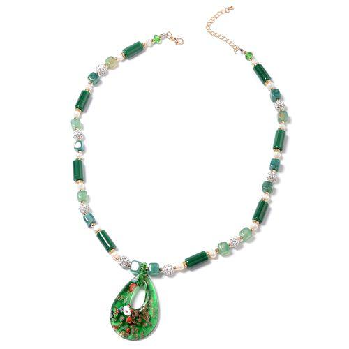 Murano Style Glass (Pear),Ceramic, Green Agate, Fresh Water White Pearl, Simulated Emerald, White Au