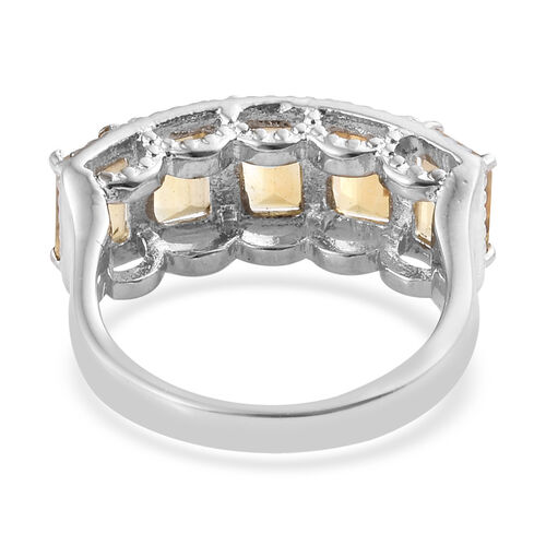 Citrine (Oct 6x4) Five Stone Ring in Stainless Steel 2.750 Ct.