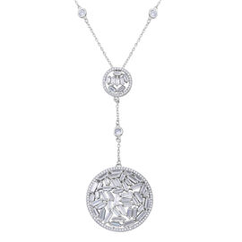 ELANZA Simulated Diamond (Rnd and Bgt) Necklace (Size 18 with 2 inch Extender) in Rhodium Overlay St