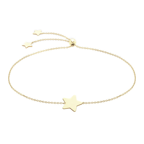 """Personalised 9ct yellow gold star adjustable bracelet 8.5"""""""