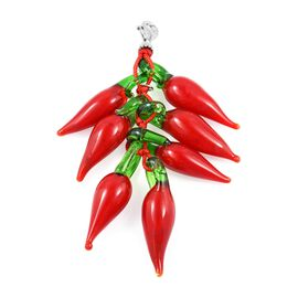 GP - Red Chilli Charm Pendant in Rhodium Plated Sterling Silver