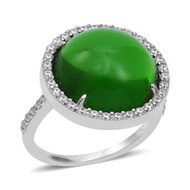 ELANZA Simulated Green Jade and Simulated Diamond Halo Ring in Rhodium Plated Sterling Silver