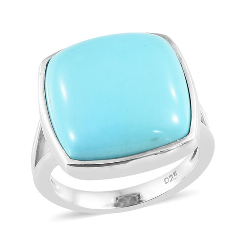 Extremely Rare Size AAA Arizona Sleeping Beauty Turquoise (Cush) Ring in Platinum Overlay Sterling S