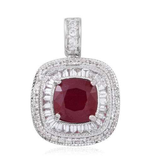 African Ruby (Cush 6.50 Ct), White Topaz Pendant in Rhodium Plated Sterling Silver 9.500 Ct.