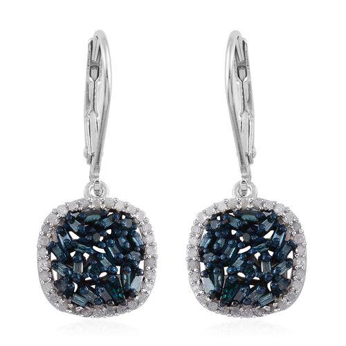 Blue Diamond (Bgt), White Diamond Lever Back Earrings in Platinum Overlay Sterling Silver 0.750 Ct.