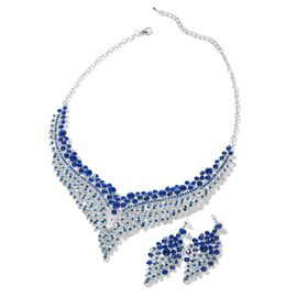 2 Piece Set - Blue Austrian Crystal (Rnd) Chandelier Design Necklace (Size 19 with 3 inch Extender)