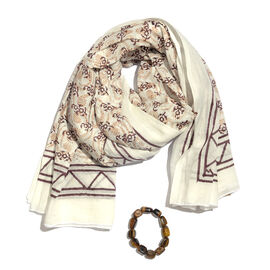 Plum and White Colour Block Print Scarf (Size 180x115 Cm) with Tiger Eye Beads Stretcheble Bracelet (Size 7.5)
