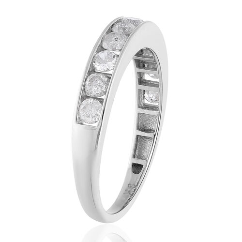 9K White Gold SGL Certified Natural Diamond (I3/G-H) Half Eternity Band Ring 1.00 Ct.