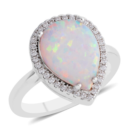 New Concept - Simulated Opal (Pear), Simulated Diamond Ring in Silver Plated