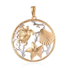 Platinum and Yellow Gold Overlay Sterling Silver Sea Life Pendant