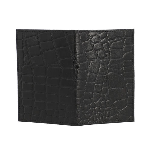 Close Out Deal 100% Genuine Leather RFID Bifold Passport Wallet (Size 14.5x10cm) - Black Color