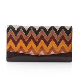 100% Genuine Leather Brown Colour Handpainted Zig-Zag Pattern Wallet with RFID Blocking (Size 21x12 Cm)