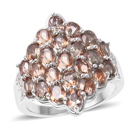 Brazilian Andalusite (Ovl), Natural White Cambodian Zircon Cluster Ring in Rhodium Overlay Sterling