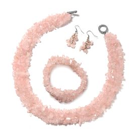 3 Piece Set Rose Quartz Beaded Necklace 18 Inch and Stretchable Bracelet 7 Inch with Hook Earrings