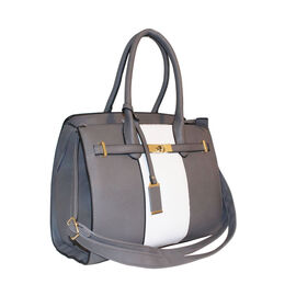 New Season - Colour Blocking Handbag With Removable Strap - Grey and White