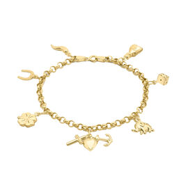 Hatton Garden Close Out 9K Yellow Gold Lucky Charm Bracelet (Size 7), Gold wt 4.20 Gms