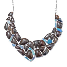 Opal Rock and Opal Double Statement Necklace in Silver 82.16 Grams 18 with 1 inch Extender