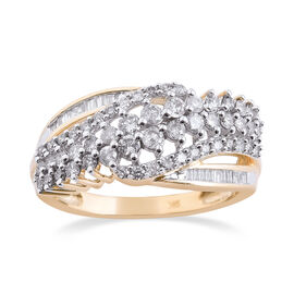 1 Carat Diamond Ring in 9K Yellow Gold 3.80 Grams SGL Certified I3 GH