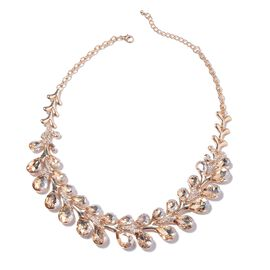 Simulated Champagne Colour Diamond (Pear), White Austrian Crystal Necklace (Size 22 with 4 inch Exte
