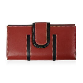 Close Out Deal - 100% Genuine Leather Wallet with Multi Compartments- Red and Black