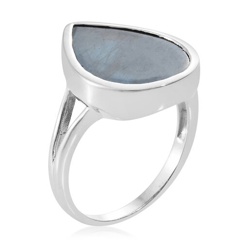 Natural Spectrolite (Pear) Solitaire Ring in Platinum Overlay Sterling Silver 7.000 Ct.