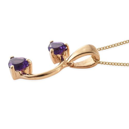 Amethyst (Hrt) Pendant with Chain and Hook Earrings in 14K Gold Overlay Sterling Silver 2.250 Ct.