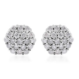 9K White Gold SGL Certified Diamond (Rnd) (I3/G-H) Stud Earrings (with Push Back) 0.25 Ct.