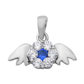 ELANZA Simulated Blue Sapphire and Simulated Diamond Angel Wings Theme Pendant in Rhodium Overlay St
