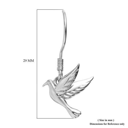 Platinum Overlay Sterling Silver Flying Bird Fish Hook Earrings