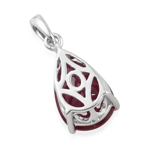 9K White Gold African Ruby (Pear) Pendant  3.850 Ct.