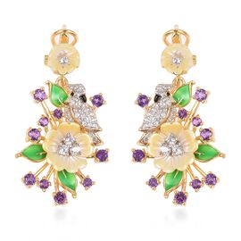 JARDIN COLLECTION - Yellow Mother of Pearl, Amethyst and Natural White Cambodian Zircon Enameled Floral Earrings (with French Clasp) in Gold Overlay Sterling Silver, Silver wt 8.05 Gms
