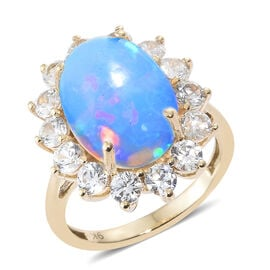 9K Yellow Gold AA Extremely Rare Size Ethiopian Welo Opal (Ovl 14x10 mm), Natural Cambodian Zircon R
