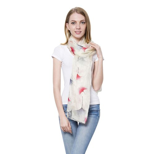 100% Mulberry Silk Red and Blue Colour Biloba Leaf Pattern Off White Colour Scarf (Size 170x110 Cm)