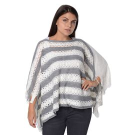 Stripe Pattern Knit Poncho with Simulated White Pearl and Tassel (Size 48x112x9 Cm) - Grey and White