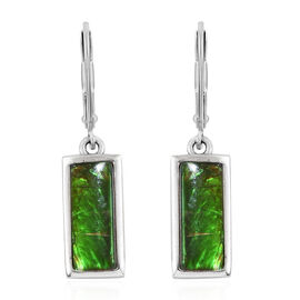 AA Canadian Ammolite (Bgt 10x4 mm) Lever Back Earrings in Platinum Overlay Sterling Silver.