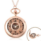 GENOA Automatic Mechanical Hollow-Out Flower Pattern Pocket Watch with Chain in Gold Tone