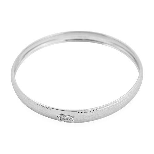 9K White Gold Diamond Cut Flexible Bangle (Size 7)