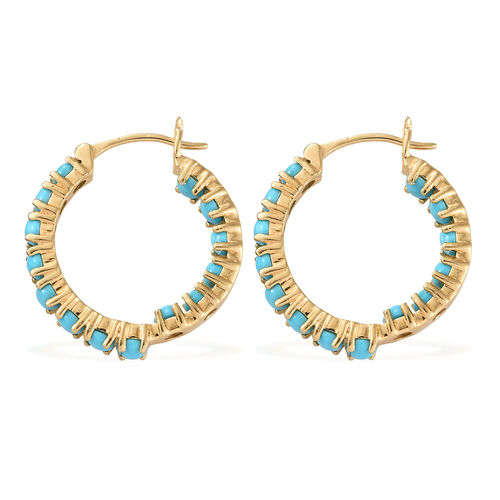 AA  Arizona Sleeping Beauty Turquoise (Rnd) Earrings (with Clasp Lock) in 14K Gold Overlay Sterling Silver 3.750 Ct, Silver wt 5.59 Gms