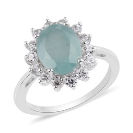 Grandidierite(Ovl10x8), Natural Cambodian Zircon Halo Ring in Platinum Overlay Sterling Silver 3.75