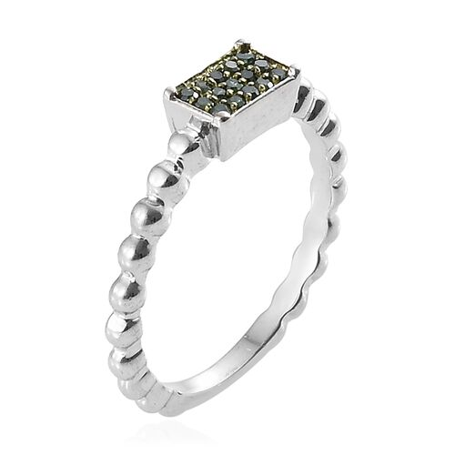 Green Diamond (Rnd) Ring in Platinum and Green Overlay Sterling Silver 0.100 Ct.