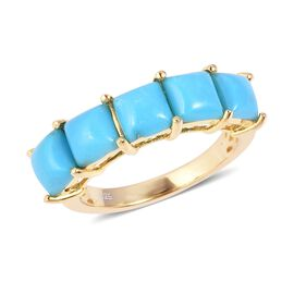 2.25 Ct Sleeping Beauty Turquoise 5 Stone Ring in Gold Plated Sterling Silver